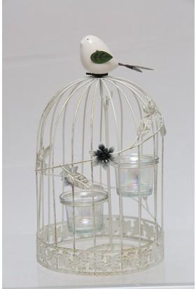 Esmerhome Küçük Beyaz Metal Kafes Kuşlu Mumluk