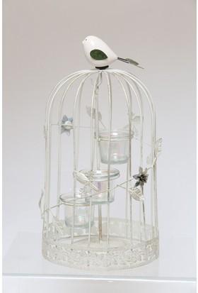 Esmerhome Orta Beyaz Metal Kafes Kuşlu Mumluk