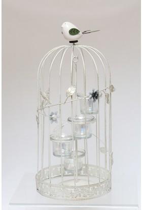 Esmerhome Büyük Beyaz Metal Kafes Kuşlu Mumluk