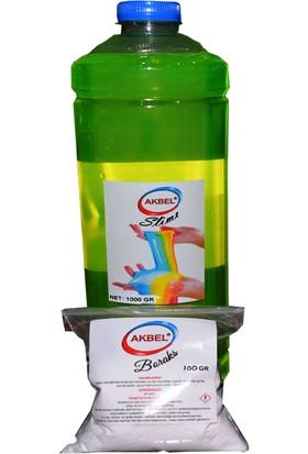 Akbel Slime Şaka Hamuru Fosforlu Yeşil 1Kg+100 Gr Boraks