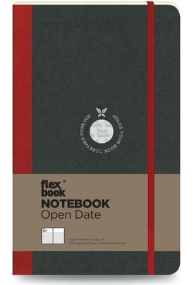 FlexBook 24 Esnek Not Defteri 13x21 cm Kırmızı Şeritli Tarihli Çizgili