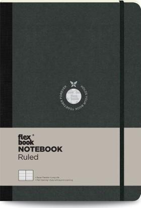 FlexBook 10 Esnek Not Defteri 17x24 cm Siyah Şeritli Çizgili