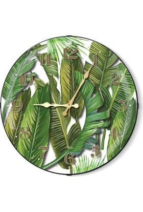 The Mia Duvar Saati - Tropik Banana Palm Beyaz 50 Cm