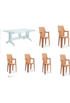 Novussi Gardelia Elegance Sandalye 6 Adet Comfort80X140 Masa Bahçe Balkon Mutfak Takımı