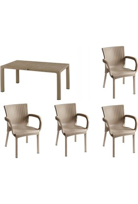 Comfort 70X120 Masa 4 Sandalye Balkon Mutfak Bahçe Rattan Takımı