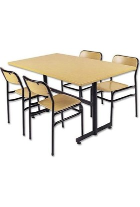 Gentaş Werzalit 80X140 Cm Katlanabilir 4 Sandalye Masa Takımı 180 ° Isıya Kadar Dayanır Sudan Etkilenmez Yanmaz Çizilmez