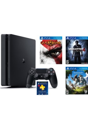 Sony Ps4 Slim 500Gb + Uncharted 4 + God Of War + Horizon Zero Dawn + 3 Ay Psn (Eurasia)