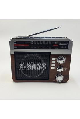 Kamal Bluetooth Özellikli Şarjlı Güneş Enerjili Radyo Km 722