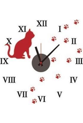 Kedi Tasarımlı Duvara Yapışan Sticker Saat