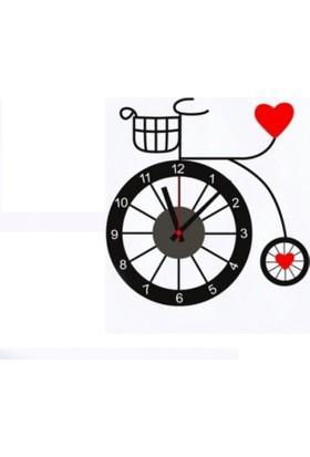 Bisiklet Tasarımlı Duvara Yapışan Sticker Saat
