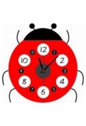 Uğur Böceği Tasarımlı Duvara Yapışan Sticker Saat
