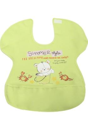 Ayıcık Desenli Yengeç Model Muşamba Mama Önlüğü Yeşil