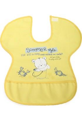 Ayıcık Desenli Yengeç Model Muşamba Mama Önlüğü Sarı