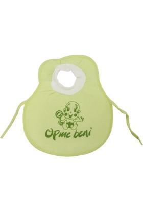 Öpme Beni Yazılı Kafadan Geçmeli Bebek Mama Önlüğü Yeşil