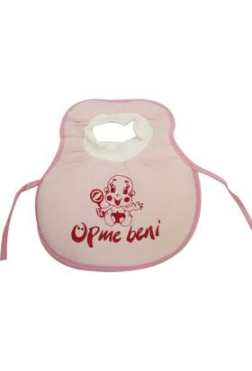 Öpme Beni Yazılı Kafadan Geçmeli Bebek Mama Önlüğü Pembe