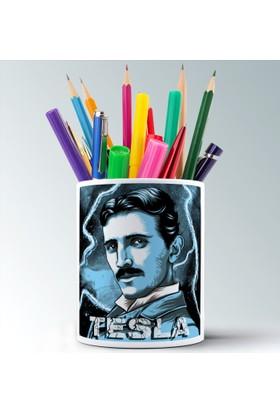 İf Dizayn Nicola Tesla Baskılı Seramik Kalemlik