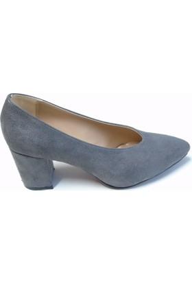 Stella Di More 2363 İbra Füme Süet Sivriburun Topuklu Kadın Ayakkabısı