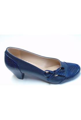 Stella Di More 2317 Petek Lacivert Fiyonklu Kadın Ayakkabısı