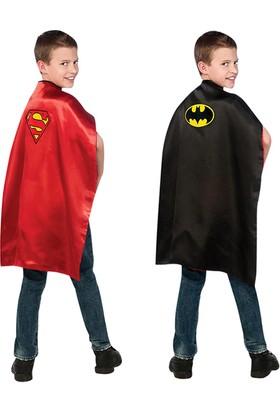 Lisanslı Batman ve Superman Çift Taraflı Pelerin Kostüm Standart