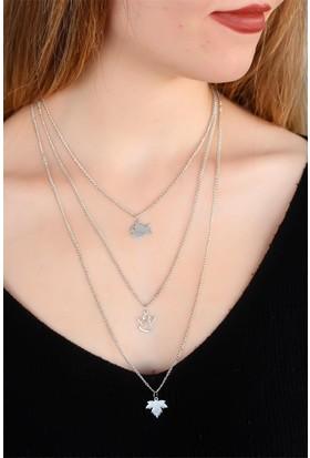 E-Bijuteri 3 Zincirli Kadın Metal Kolye 893686