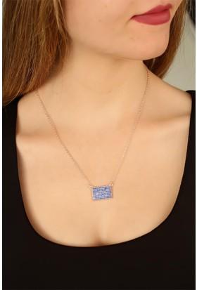 E-Bijuteri Mavi Renk Zirkon Taşlı Kadın Kolye 909727
