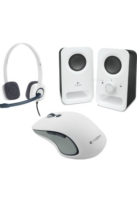 Logitech Z150 2.0 Beyaz Speaker + Logitech M560 Kablosuz Beyaz Mouse + H150 Stereo Beyaz Headset