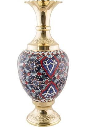 El Yapımı ve Altın Kaplama 25 cm Vazo