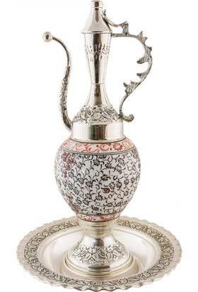 El Yapımı Seramik ve Gümüş Kaplama 30 cm İbrik Seti