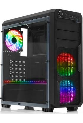 Dark Sentinel 3x12cm 18xRGB LED Fan Mid-Tower Siyah Oyuncu Kasası (DKCHSENTINELRGB)
