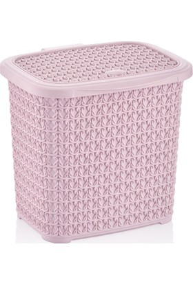 Arma House Örgü desenli toz pembesi rengi plastik deterjan kutusu 4,5 LT