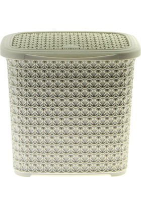 Arma House Örgü desenli fil dişi rengi plastik deterjan kutusu 4,5 LT