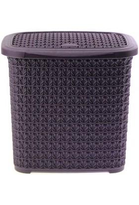 Arma House Örgü desenli mürdüm rengi plastik deterjan kutusu 4,5 LT