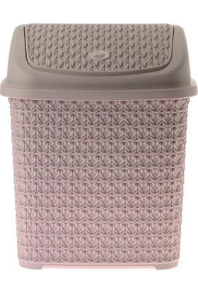 Arma House Örgü desenli toz pembesi rengi plastik klik çöp kovası 4,5 LT