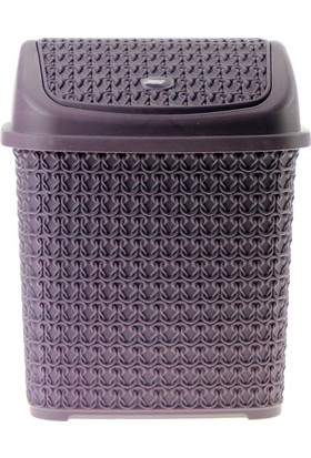 Arma House Örgü desenli mürdüm rengi plastik klik çöp kovası 4,5 LT