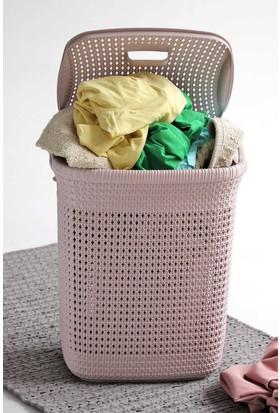 Arma House Örgü desenli toz pembesi rengi plastik kirli çamaşır sepeti 52 LT