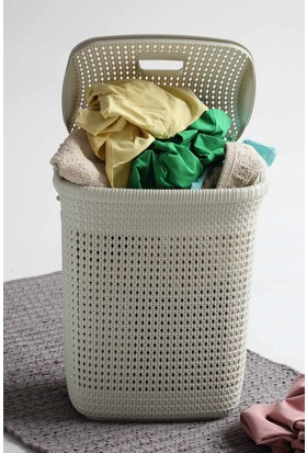 Arma House Örgü desenli fil dişi rengi plastik kirli çamaşır sepeti 52 LT