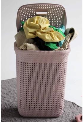 Arma House Örgü desenli toz pembesi rengi plastik kirli çamaşır sepeti 65 LT