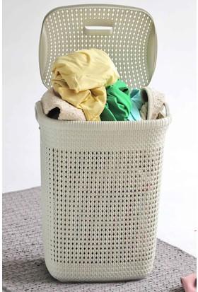 Arma House Örgü desenli fil dişi rengi plastik kirli çamaşır sepeti 65 LT
