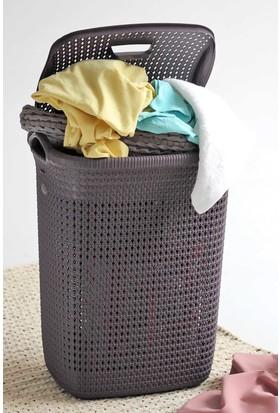 Arma House Örgü desenli mürdüm rengi plastik kirli çamaşır sepeti 65 LT