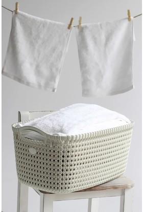 Arma House Örgü desenli fil dişi rengi plastik eko çamaşır sepeti 30 LT