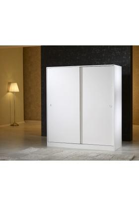 Mobusta Diba160 2 Kapaklı Parlak Beyaz 160 cm Sürgülü Gardırop