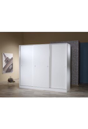 Mobusta Triva 3 Kapaklı Parlak Beyaz 205 cm Sürgülü Gardırop