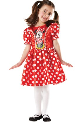 Lisanslı Minnie Puantiyeli Kırmızı Kostüm M Beden 5-6 Yaş