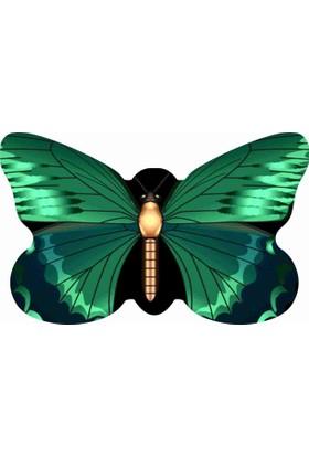 Mats Dekoratif Paspas 50X80 Yeşil Kelebek