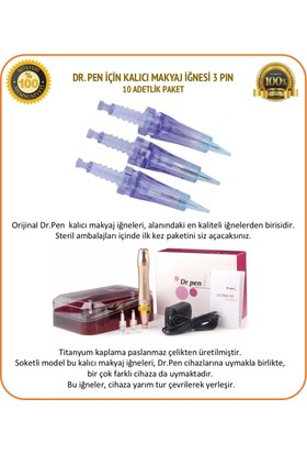 Dr.Pen Kalıcı Makyaj İğnesi 10 Adet 3 Pin Mavi İğne A6 Soketli Dermapen İğnesi