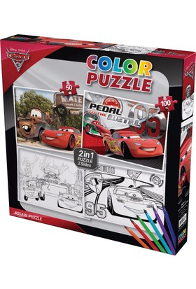 Gepettoys Cars Puzzle Boyamalı 50 Parça+100 Parça
