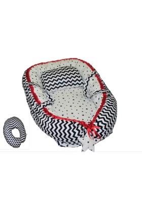 BabyNest Uyku Yatağı + Bebek Emzirme, Oturma Destek Minderi Pembe