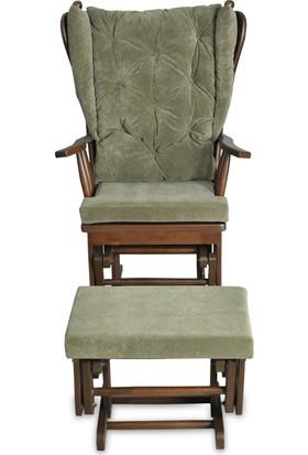 Asedia Puflu Sallanan Sandalye Koyu Ceviz - Yeşil