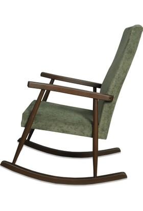 Asedia Döşemeli Sallanan Sandalye Ceviz - Yeşil