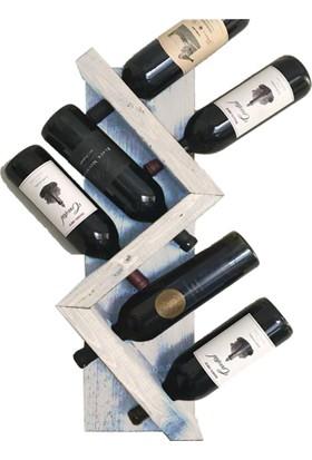 Weblonya Ahşap Şaraplık 6 Şarap Kapasiteli Eskitme Şarap Standı